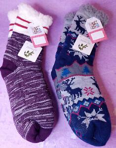 MUK LUKS Cabin Slipper Socks L/XL 8.5-11 Jojoba Oil Lot 2 Blue Nordic Grape Marl