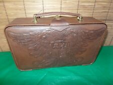 Vintage leather embossed Crested locking box 13x8x3 with Key Travel case