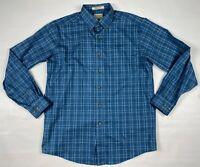 LL Bean Men's Shirt Size Medium Blue White Checks Button Front Pre-Owned Top