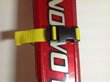 2x Yellow Ski Tie Straps Quick Release Buckle 25mm Webbing