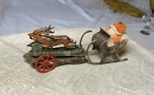 Antique Santa Reindeer Sleigh Germany Tin Cotton Batting Miniature c1900 Rare