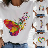 Womens Rainbow Letter Printed Fun Tees O Neck Summer T-Shirts Blouse Tops