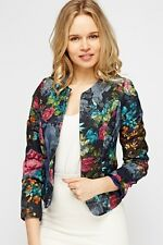 New Womens Textured Cropped Blazer Color Navy/Multi Jacket Size 8 - 10