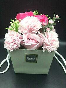 Soap Flower Bouquet Red, Lilac & Purple Blue Pink Rose and Carnation Fragrant
