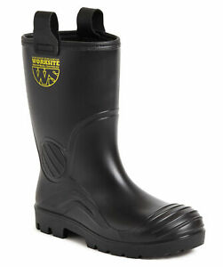 Worksite SS630SM S5 black PVC steel toe/midsole fur lined safety rigger boot
