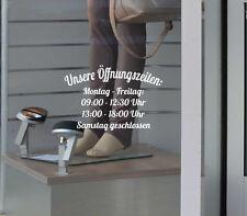"""Öffnungszeiten Aufkleber """"Bogen"""" Schild Tür Schaufenster Laden Geschäftszeiten"""