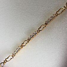 GB White sim diamonds 18k gold filled bracelet 17-20.5cm x 6mm Plum UK BOXED