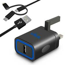 Travel USB Wall Battery Charger UK Power Adapter with 3-in-1 Cable For Tablet PC