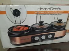 Slow Cooker Oval Ceramic Cooking Pots Kitchen Appliance Portable 3-Station 1.5qt