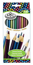 Royal Langnickel 12 pc METALLIC COLOR Colored Pencils Drawing Set Sketching Draw