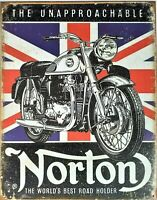 PLAQUE METAL vintage moto NORTON the unapproachable  40 x 30 cm