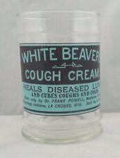 WHITE BEAVER'S COUGH CREAM Apothecary Jar - Antique Patent Medicine Advertising