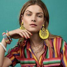 Bohemian Large Statement Drop Earrings - Yellow