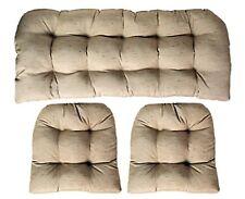 3 Piece Wicker Cushion Set (Loveseat Settee & 2 Cushions) Linen Look Tan / Beige