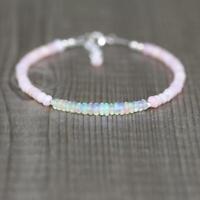 Natürliche Rosa & Fire Opal facettierten Edelstein Armband 925 Silber Verschluss