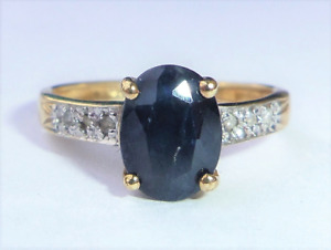 9ct Gold Sapphire & Diamond Solitaire Ring, Size J