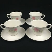 Set of 4 VTG Cups and Saucers by Franciscan Pink A Dilly Whitestone Ware Japan