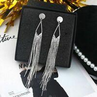 Drop Long Tassel Statement Ear Stud Earrings Fashion Dangle Jewelry Women