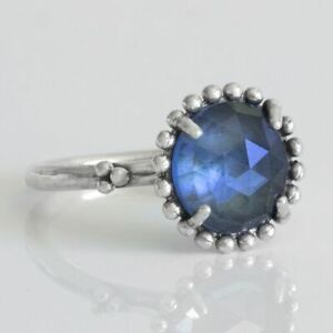 Midnight Star Ring 925 Solid Sterling Silver Large Blue Crystal Band Size 8.5