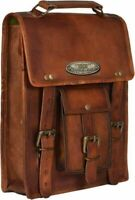 Bags Vertical Side Pouch Brown Leather Pouch 2 Panniers Saddle Bags Motorcycle