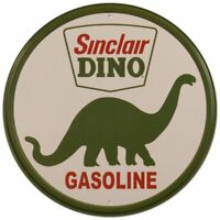 Sinclair Dino Gasoline Oil Garage Service Station Round Metal Tin Sign 12 x 12in