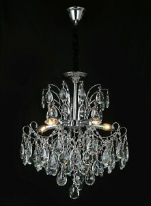 Am- Light French Style Chandelier Lights, Gold/Chrome Finish K9 Crystal 6626-5