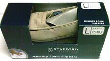 STAFFORD MEN'S BEIGE INDOOR/OUTDOOR MEMORY FOAM SLIPPERS, SIZE LG 9.5-10.5 NIB