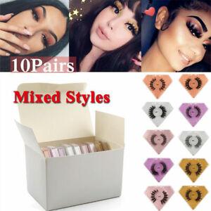 3D Mink Eyelashes Mix False Lashes 10 Pairs In A Lot Bulk Bundle Fluffy