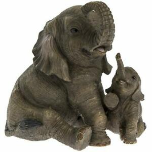 Lesser and Pavey Elephant With Baby Calf Jungle Ornament Figure Resin Gift Box