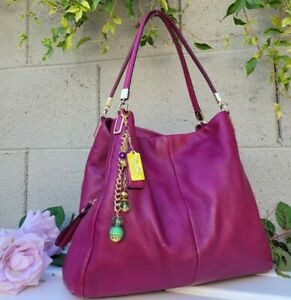 Coach Fuschia Madison phoebe leather carryall Shoulder hobo bag 26224 purse