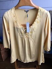 PER UNA SMOCK TOP. SIZE 16. MUSTARD YELLOW JERSEY. EMBROIDERED BEAD DETAIL. BNWT