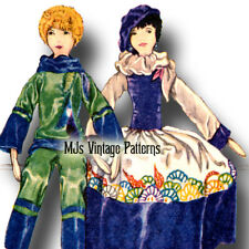 French Boudoir Bed Doll 1920s Vintage Pattern #1 ~ Bodies & Clothes Dress Pajama