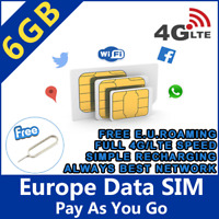 EU SIM card Europe holiday trip 6GB daily data Internet European Union 4G/LTE A+