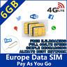 EU Europa Prepaid Internet Daten Micro Sim Karte + 6GB für 30 Tage Europe data