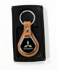 NEW MITSUBISHI KEYCHAIN ROUND METAL LEATHER BADGE KEY FOB KEYRING CAR + GIFT BOX