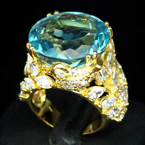 AQUAMARINE AQUA BLUE ROUND 24.70CT. SAPP 925 STERLING SILVER GOLD RING SZ 7 GIFT