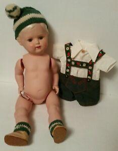 Vintage Schildkrot CELLULOID Blonde Boy Doll Turtlemark 36 / 41  + CLOTHES