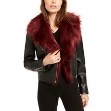 Bar Iii Womens Black Winter Faux Leather Short Moto Coat Outerwear L Bhfo 2505