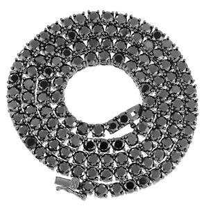 Solitaire 4MM Tennis Bracelet Necklace Black Finish Black Lab Diamonds 18-24''