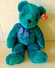 "TY BEANIE BUDDY COLLECTION ""TEDDY TEAL BEANIE BABY ""  PLUSH  BEAR - TAGS - 2000"