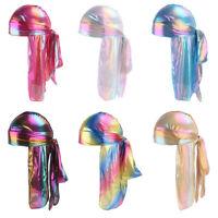 Men Women Laser Bandana Turban Hat Durag Rag Cap Rainbow Headwrap Headwear New