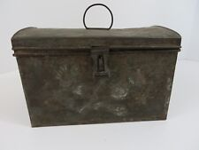 "Vtg Metal Box w Hinged Dome Lid and Handle Hasp Closure 9.25 x 6.75 x 6""  #7227"