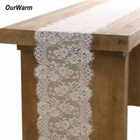 White Wedding Floral Lace Table Runner Tablecloth Chair Sash Banquet Party Deco
