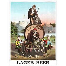 H & J Larger Beer Ad Poster Deco FRIDGE MAGNET, 1870 Rip Van Winkle Mini Gift
