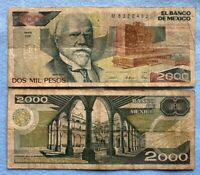ONE CIRCULATED Mexico Banknote 2000 Pesos Paper Money Mexican bills 2 Mil Pesos