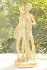 "Santini Sculpture Two Young Lovers Signed On Base Cream Color 12"" Attractive"