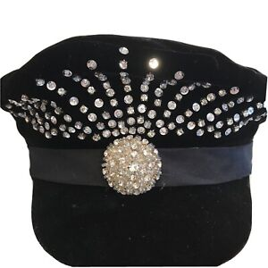 Women's fashion hat with rhinestones & brooches, One Size, Donna Vinci, China.
