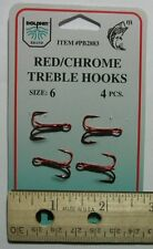 DOLPHIN Red/Chrome Treble Hook Size 6 Qty(4) PB2883