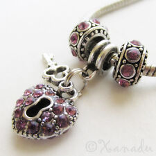 Purple Key To My Heart European Charm Bead Trio - June Birthday Birthstone Gift