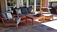Atnas Grade-A Teak 6pc Sofa Lounge Chair Set +Canvas Sunbrella Charcoal Cushions